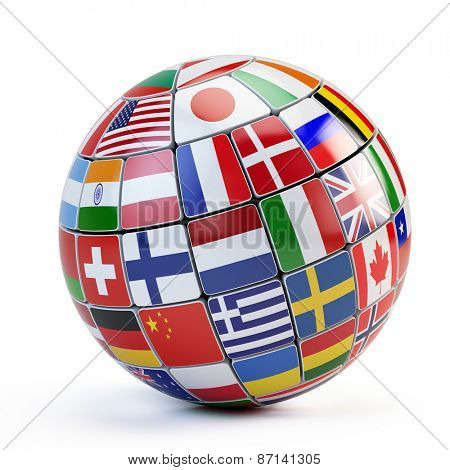 Flags of the world in globe isolated on white