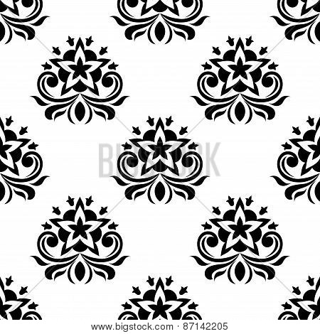 Star shaped flowers in seamless pattern