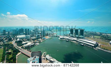Singapore skyline with urban buildings