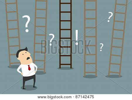 Businessman choosing ladder to success