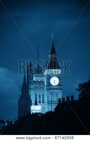 Westminster Palace at night lit in London.