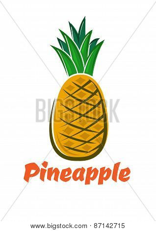 Cartoon fresh pineapple fruit poster