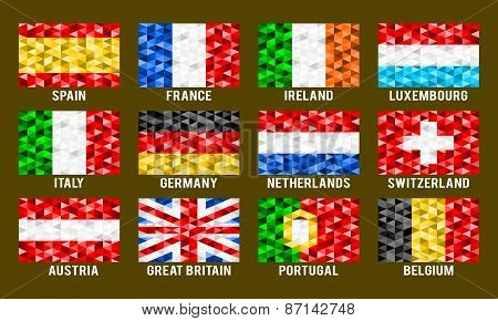 Western Europe low poly flags