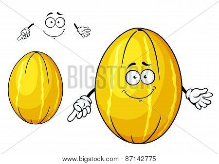 Cute yellow melon fruit cartoon character