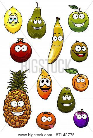 Tropical and garden fruits cartoon characters