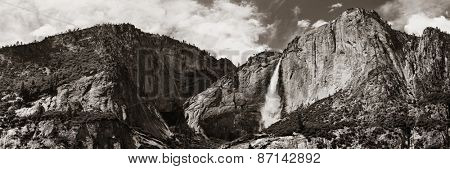 Waterfalls panorama in Yosemite National Park in California in BW