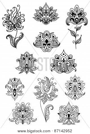 Paisley contoured flowers decorated ethno ornaments