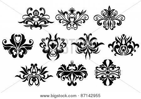 Black flowers silhouettes design elements