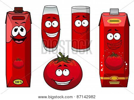 Natural tomato juice cartoon characters