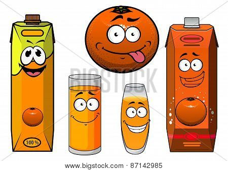 Cartooned orange fruit, juice containers and glasses