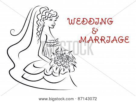 Wedding background with pretty bride