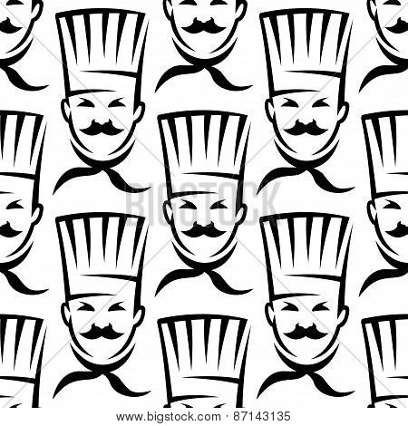 Mustached chefs in professional uniform seamless pattern