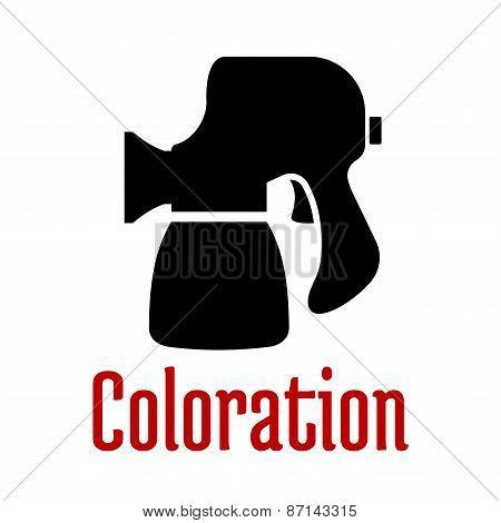Airbrush or spray gun black silhouette