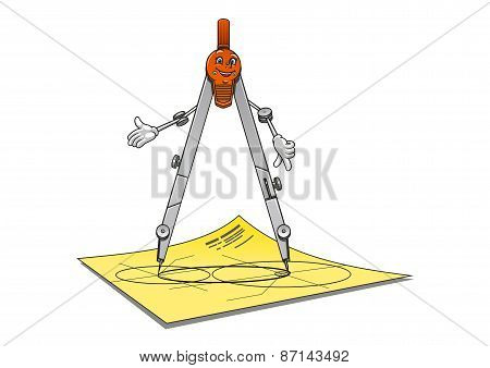 Smiling cartoon drawing compass character
