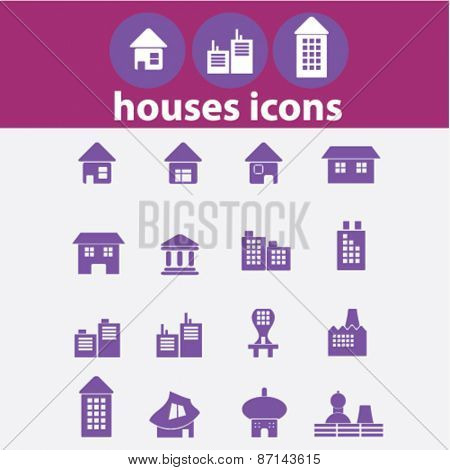 real estate, house, buildings, isolated icons, signs, illustrations concept website internet design set, vector