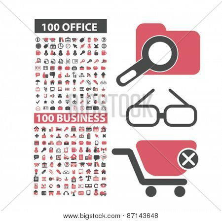 200 office, business, management icons, signs, illustrations design concept set. vector