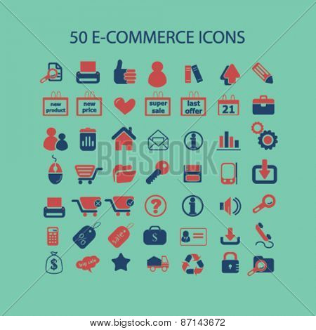 ecommerce, retail, shop, store icons, signs, illustrations design concept set. vector