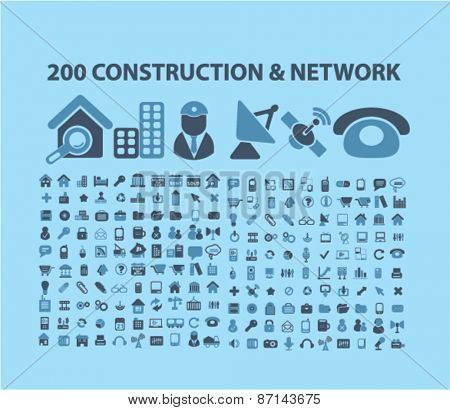 200 construction, network, connection, communication, technology icons, signs, illustrations design concept set. vector