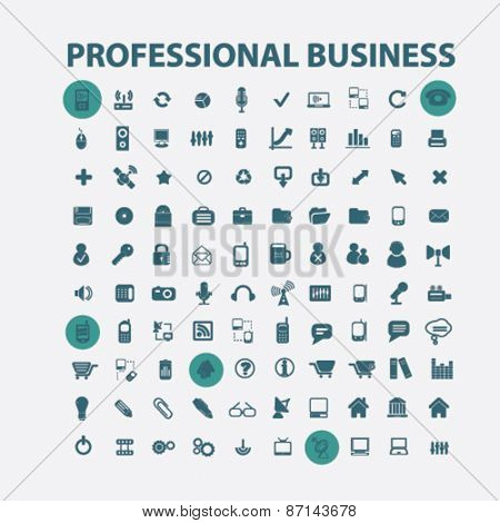 professional business, management isolated icons, signs, illustrations concept website internet design set, vector