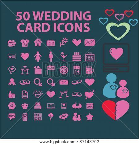 50 wedding, card, celebration, love isolated icons, signs, illustrations concept website internet design set, vector