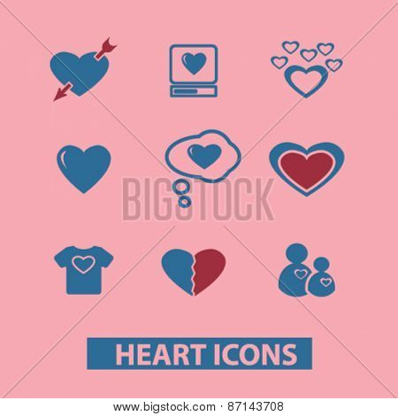 heart, love, romance isolated icons, signs, illustrations concept website internet design set, vector