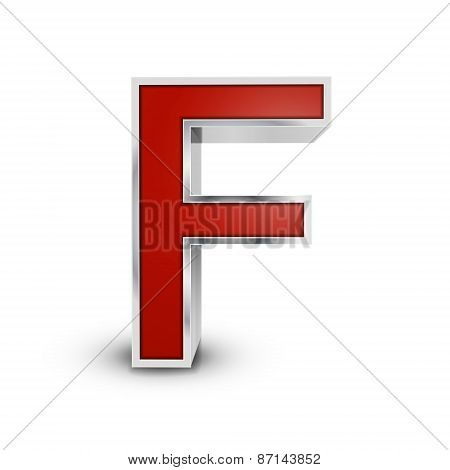 3D Red Metallic Letter F