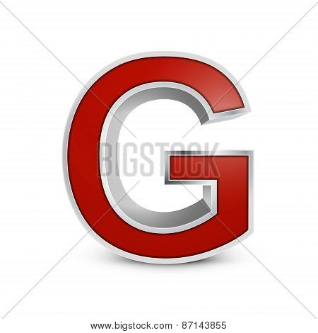 3D Red Metallic Letter G