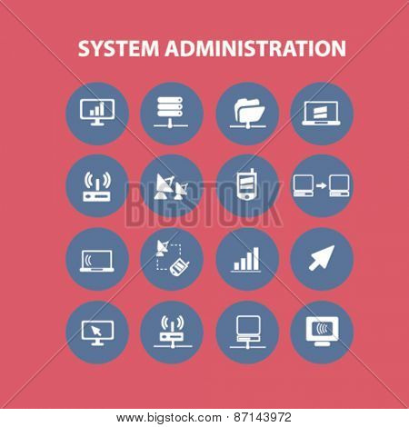 system administration, computer icons, signs, illustrations design concept set. vector
