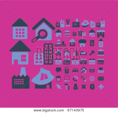 house, building, home, real estate icons, signs, illustrations design concept set. vector