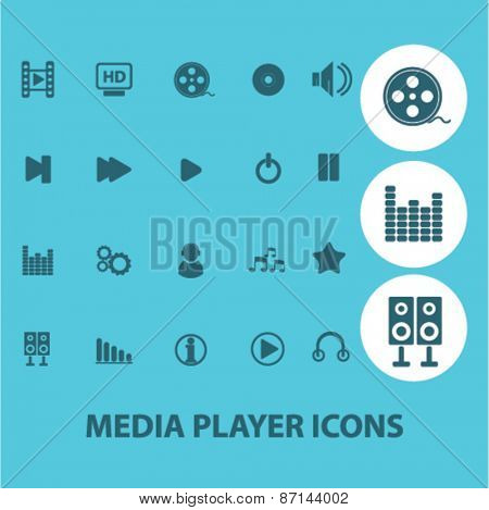 media player, music, audio isolated icons, signs, illustrations concept website internet design set, vector
