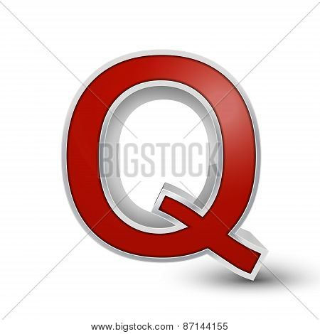 3D Red Metallic Letter Q
