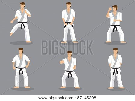 Basic Karate Moves Vector Icon Set