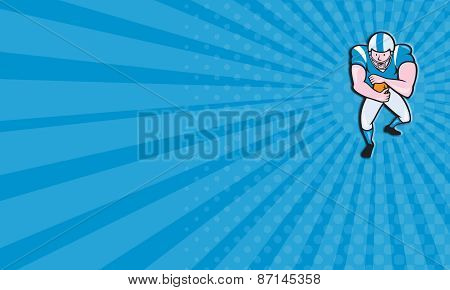 Business Card American Football Running Back Fending Cartoon