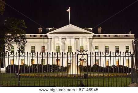 White House Night Pennsylvania Ave Washington Dc