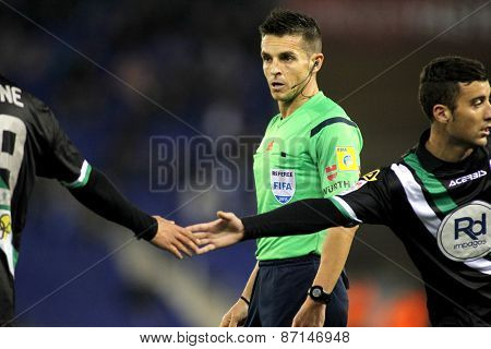 BARCELONA - FEB, 27: Spanish referee Carlos Del Cerro Grande during a Spanish League match between Espanyol and Cordoba CF at the Estadi Cornella on February 27, 2015 in Barcelona, Spain