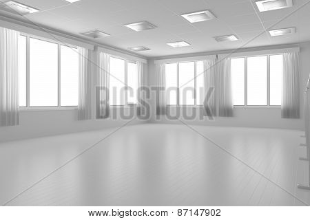 White Empty Training Dance-hall With Flat Walls, White Floor And Window, 3D Illustration