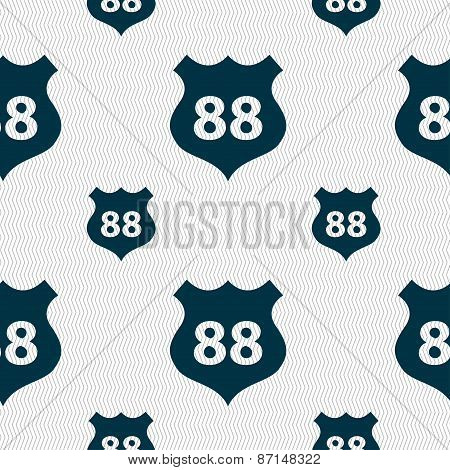 Route 88 Highway Icon Sign. Seamless Pattern With Geometric Texture. Vector