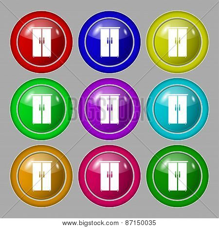 Cupboard Icon Sign. Symbol On Nine Round Colourful Buttons. Vector