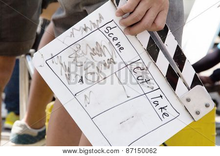 close up image of Film Slate, behind the scene