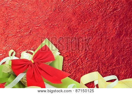 Shiny Red Leaf With Ribbon