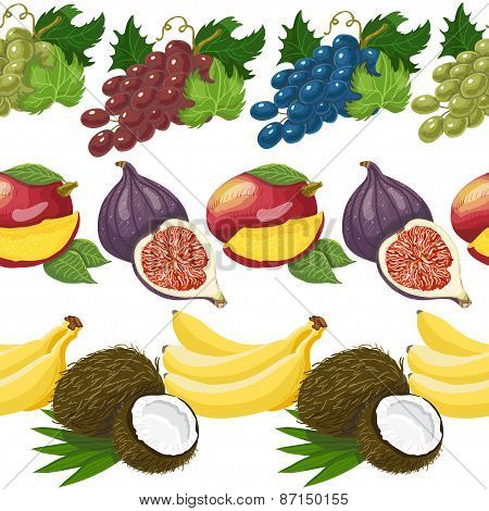 Seamless Pattern With Exotic Fruits