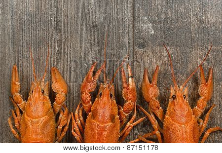 Three Red Crayfishes In A Row On Old Wooden Table Close-up