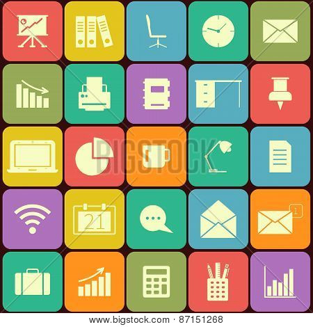 Office and business Flat icons for Web and Mobile Applications. Can be used as elements in infograph