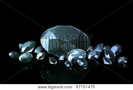 Diamonds On A Black Background With A Beautiful Gradient Illumination
