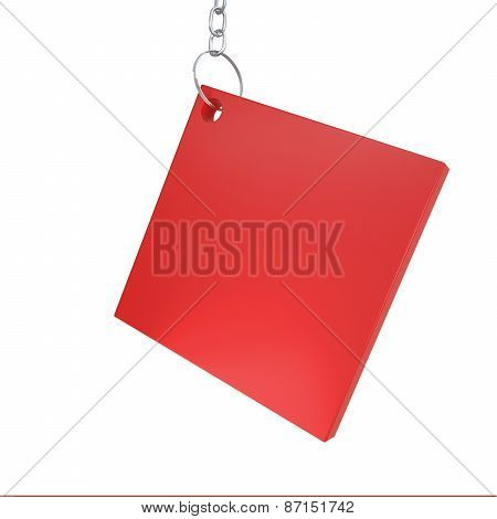 Red box label with chain for sal