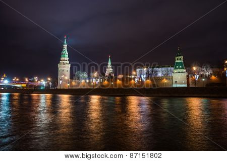 Scenic Night View Of The Kremlin Across The River Moscow