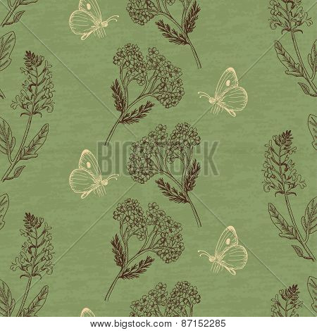 Vintage Seamless Pattern With Herbs On A Green Background