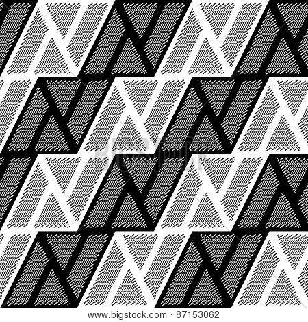 Design Seamless Monochrome Triangle Geometric Pattern