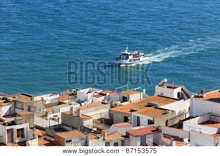 Mediterranean sea and yacht, Peniscola, Valencian Community, Spain