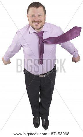 Businessman flying up on white background